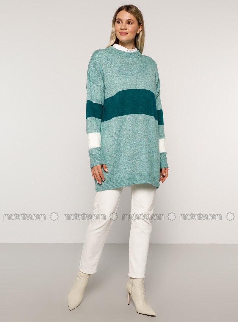 Blue - Turquoise - Acrylic - Crew neck - Plus Size Knit Tunics
