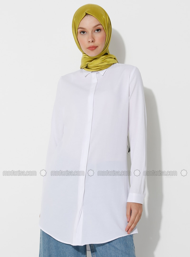 White - Point Collar - Viscose - Tunic
