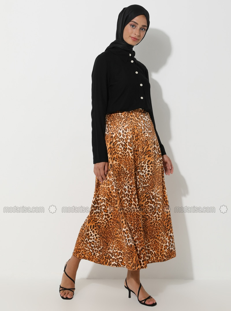 Beige - Black - Leopard - Unlined - Skirt
