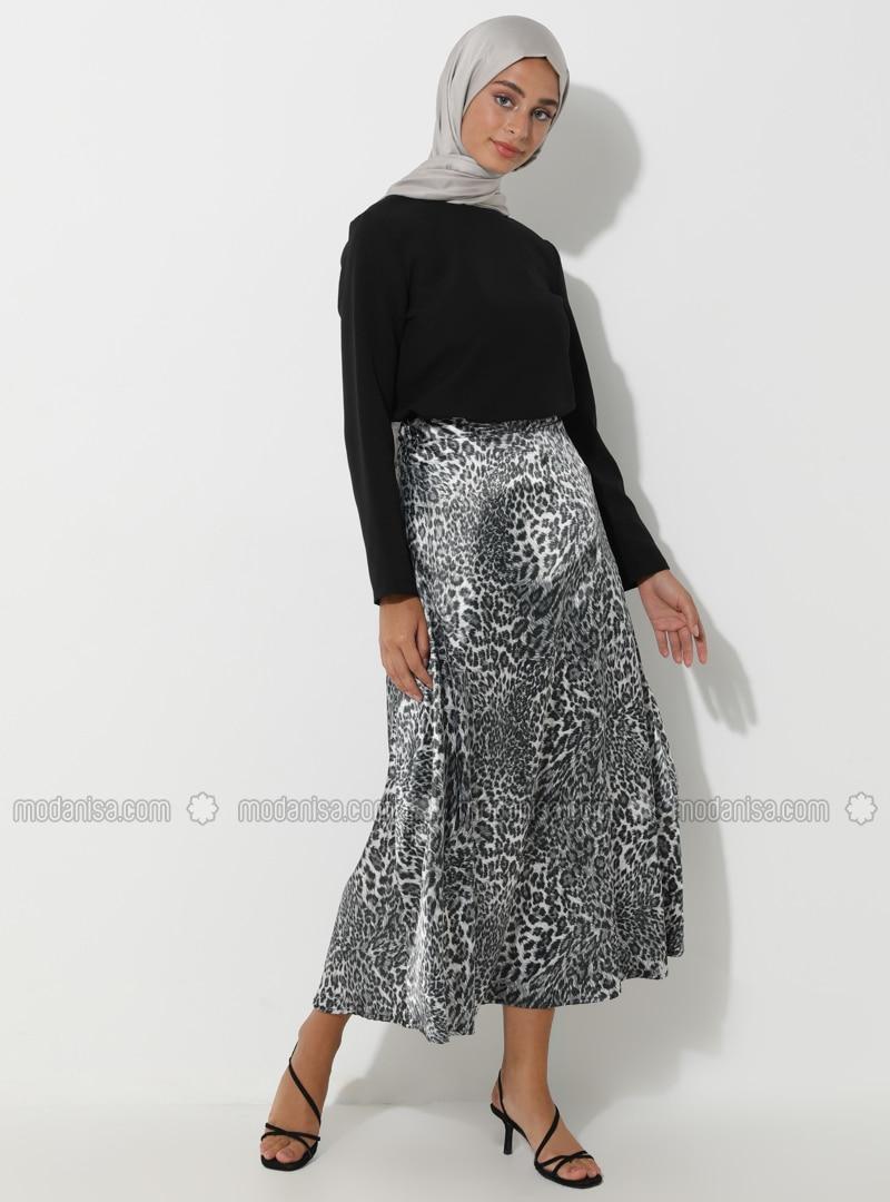 Gray - Black - Leopard - Unlined - Skirt