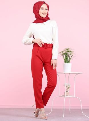 Maroon - Acrylic - Wool Blend - Pants