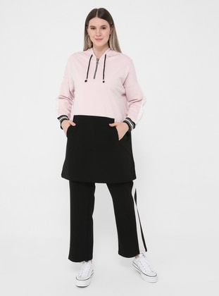 Oversize Natural Fabric Tracksuit Set - Powder Black