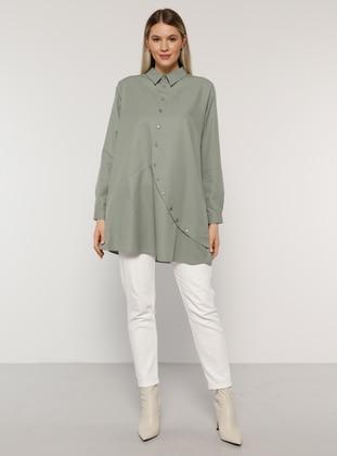 Olive Green - Point Collar -  - Plus Size Tunic - Alia