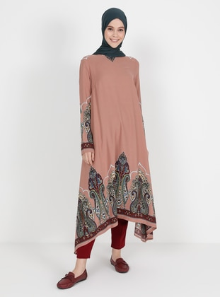 Copper - Multi - Crew neck - Viscose - Tunic