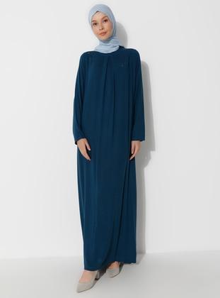 Petrol - Crew neck - Unlined - Viscose - Dress