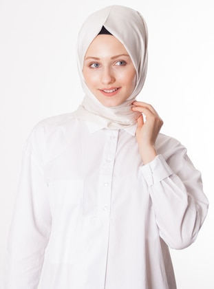 White - Plain - %100 Silk - Shawl
