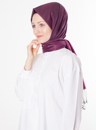 Fuchsia - Black - Plain - %100 Silk - Shawl