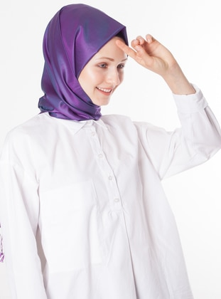 Purple - Petrol - Plain - %100 Silk - Shawl