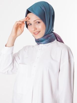 Pink - Petrol - Plain - %100 Silk - Shawl