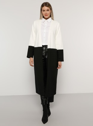 Ecru - Black - Unlined -  - Plus Size Coat - Alia