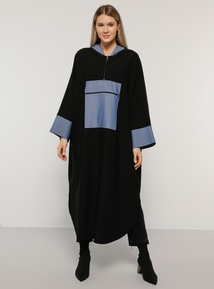 Blue - Black - Plus Size Poncho - Alia