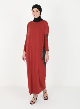 Terra Cotta - Crew neck - Unlined - Viscose - Modest Dress