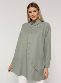 Olive Green - Point Collar -  - Plus Size Tunic