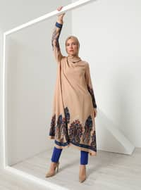 Brown - Multi - Crew neck - Viscose - Tunic