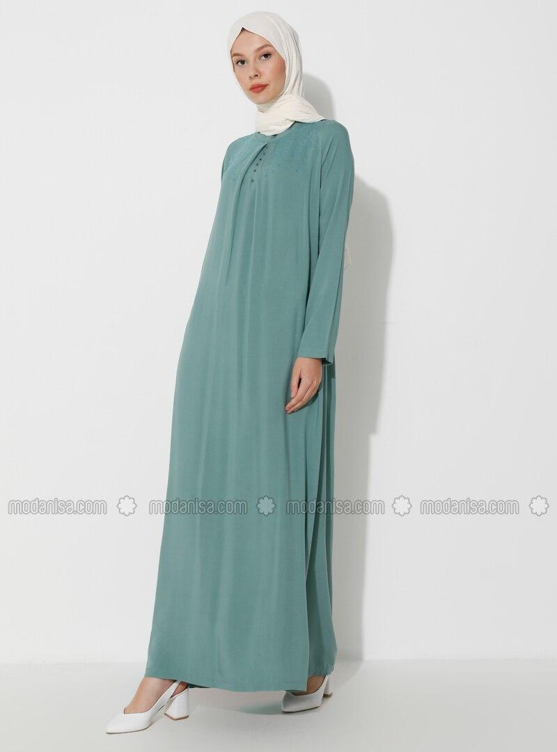 Green Almond - Crew neck - Unlined - Viscose - Dress