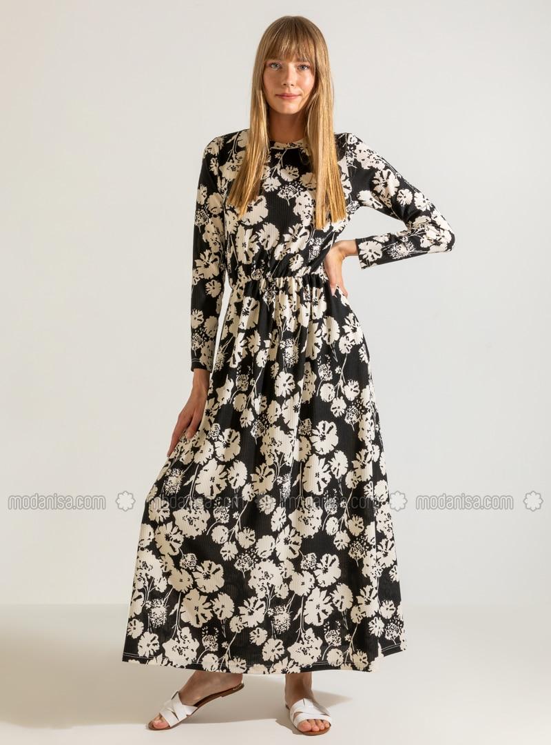 Bunt - Schwarz - Bunt - Rundhalsausschnitt - Ohne Innenfutter - Hijab Kleid
