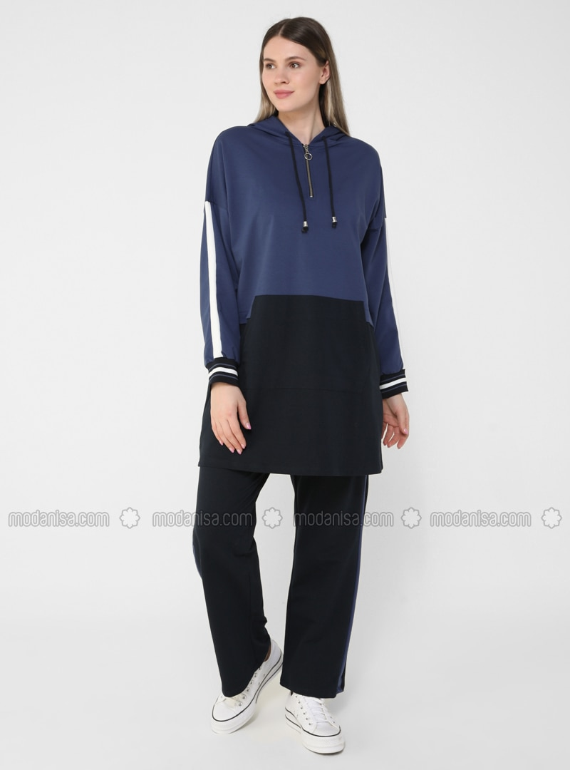 Oversize Natural Fabric Tracksuit Set - Navy Blue Indigo