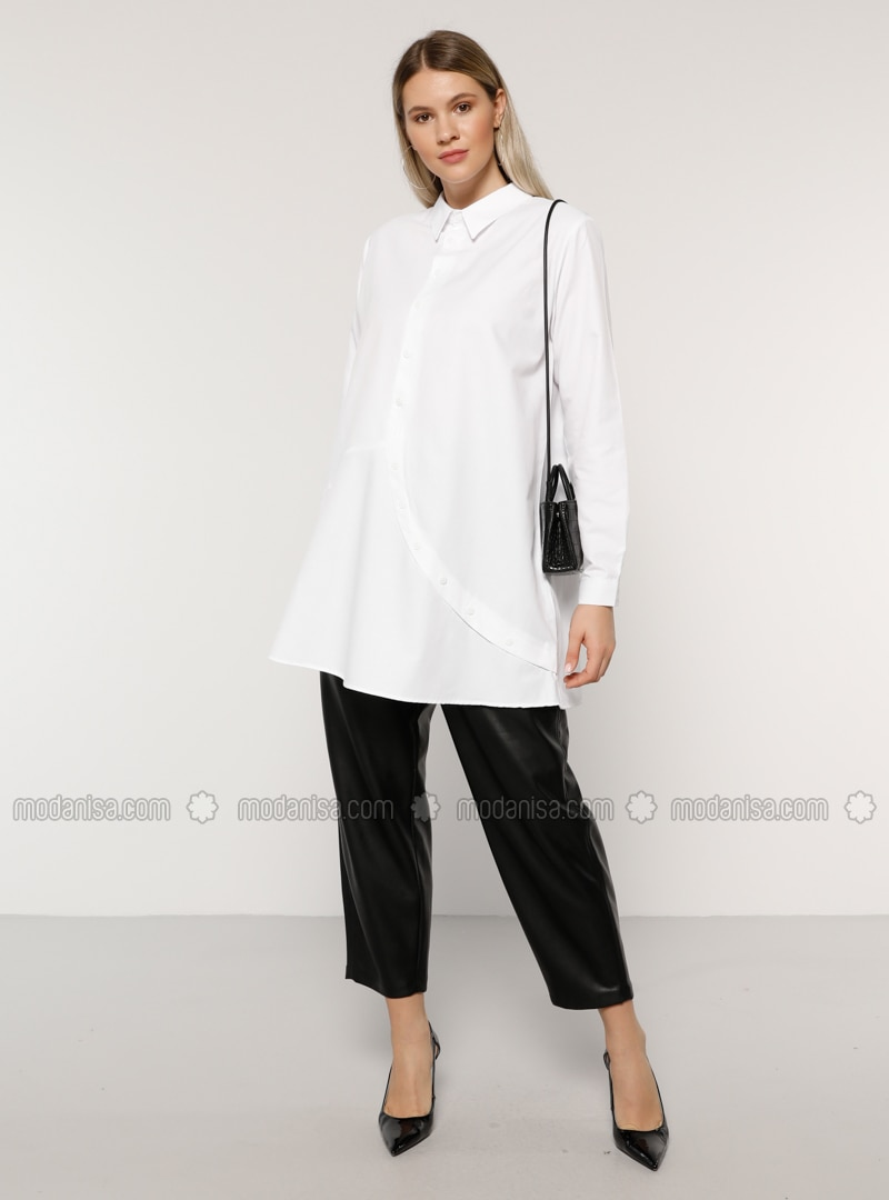 White - Ecru - Point Collar -  - Plus Size Tunic