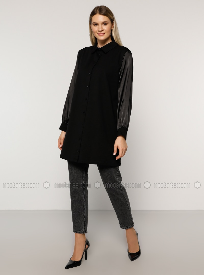 Black - Point Collar -  - Plus Size Tunic