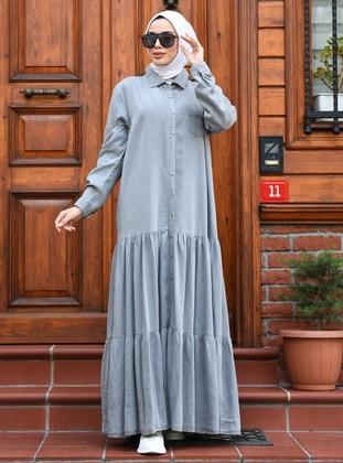 Gray - Point Collar - Unlined - Denim - Lyocell - Dress