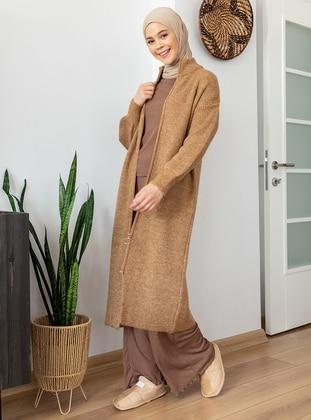 Camel - Polo neck - Acrylic - - Cardigan