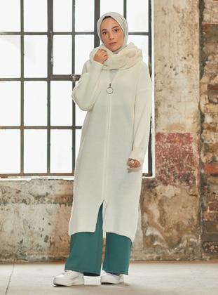 White - Ecru - Polo neck - Acrylic - - Cardigan