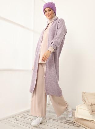 Lilac - Polo neck - Acrylic - - Cardigan