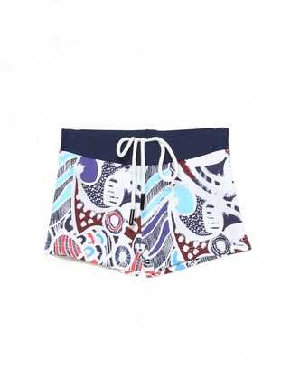 Multi - Unlined - White - Boys` Swimsuit