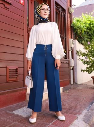 Indigo - Acrylic - Wool Blend - Pants