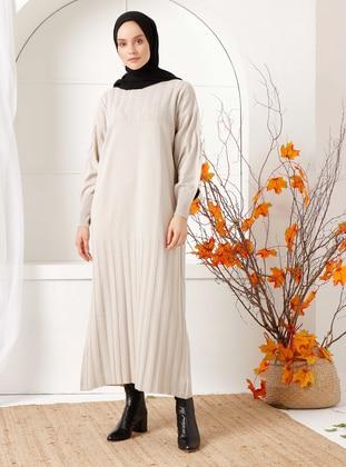 Beige - Crew neck - Acrylic -  - Knit Dresses - İnşirah