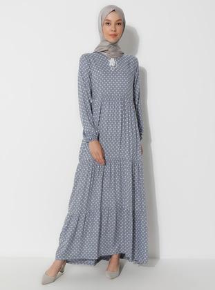 Gray - Polka Dot - Crew neck - Unlined - Dress