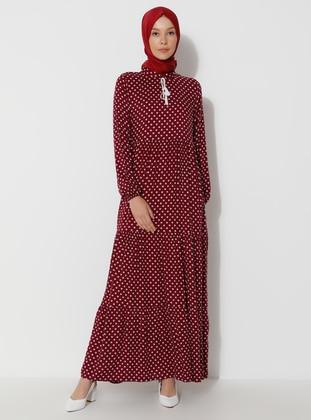 Plum - Polka Dot - Crew neck - Unlined - Dress
