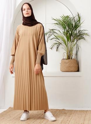Camel - Crew neck - Acrylic -  - Knit Dresses - İnşirah