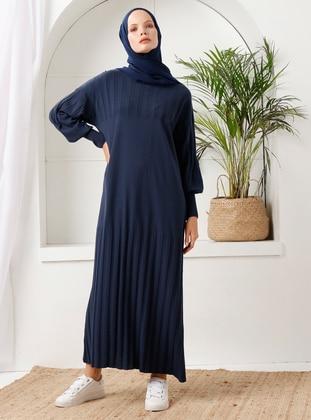 Navy Blue - Crew neck - Acrylic -  - Knit Dresses - İnşirah