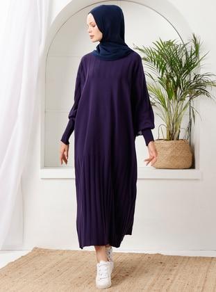 Purple - Crew neck - Acrylic - - Knit Dresses - İnşirah