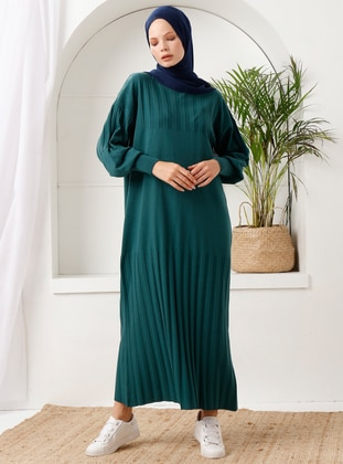 Green - Crew neck - Acrylic - - Knit Dresses