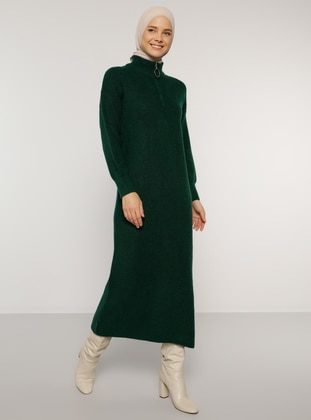 Green - Emerald - Unlined - Polo neck - Acrylic -  - Knit Dresses - Benin