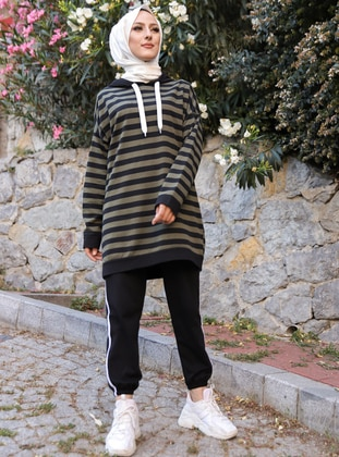 Khaki - Black - Stripe - - Tracksuit Set