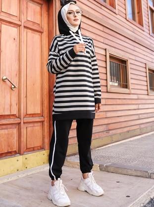 Gray - Black - Stripe - - Tracksuit Set - Tofisa