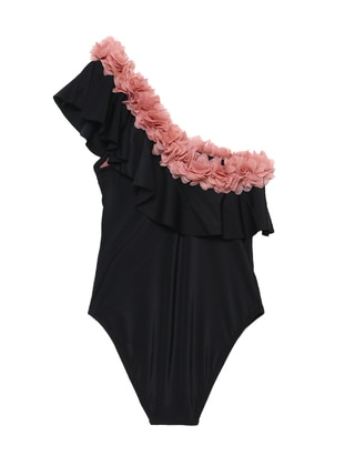 Multi - Unlined - Black - Girls` Swimsuit