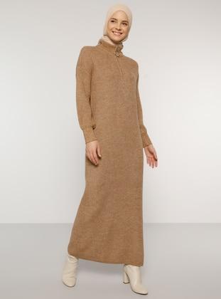 Camel - Unlined - Polo neck - Acrylic -  - Knit Dresses - Benin