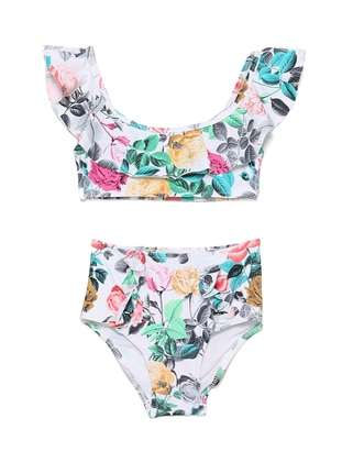 Floral - Unlined - Girls` Swimsuit