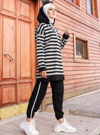 Gray - Black - Stripe -  - Tracksuit Set