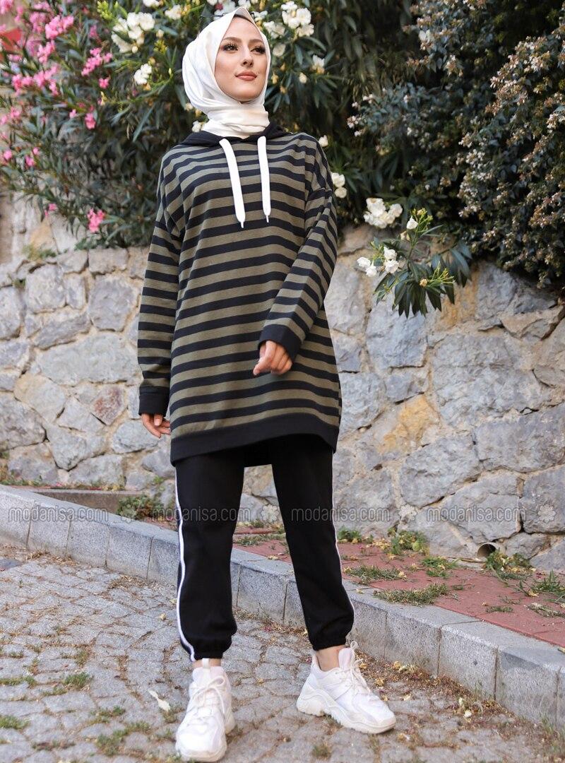 Khaki - Black - Stripe - - Tracksuit Set