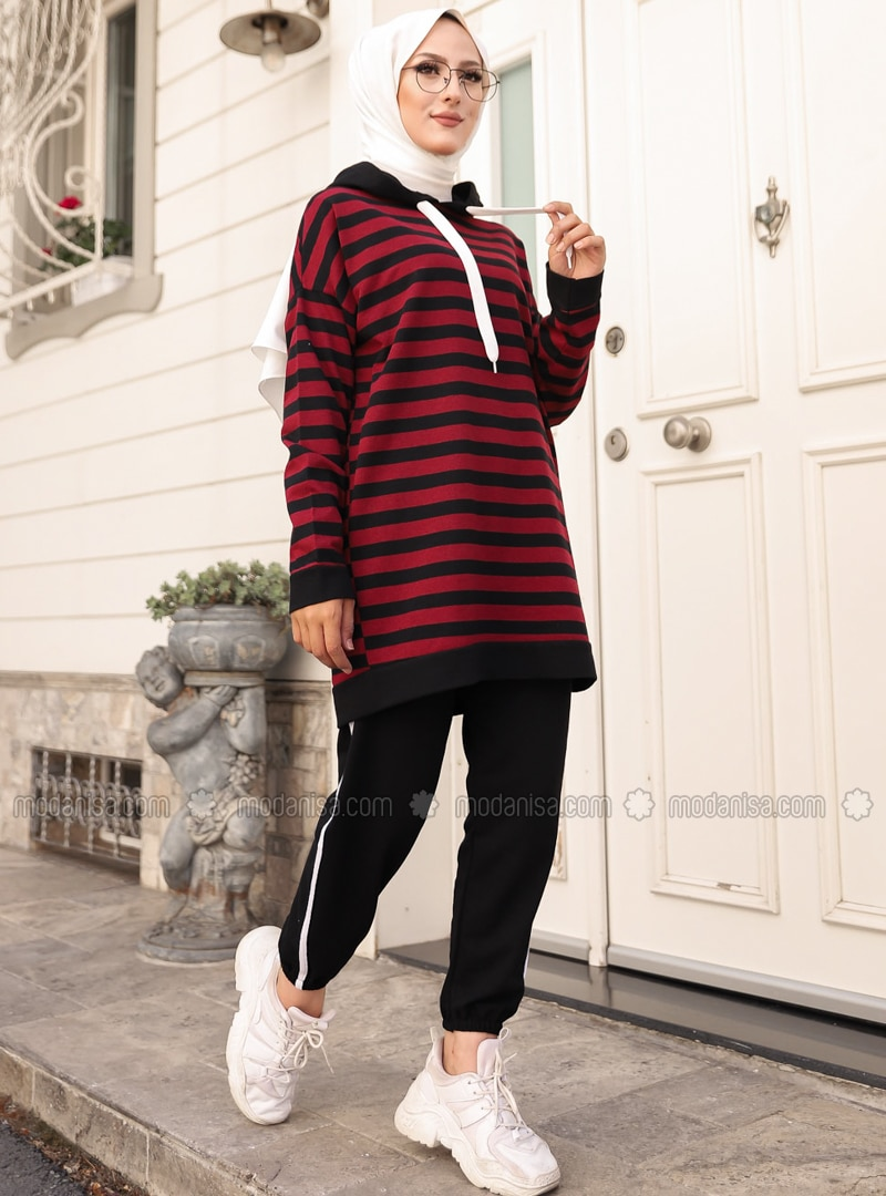 Maroon - Black - Stripe - - Tracksuit Set