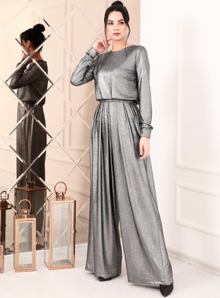 Silver tone - Fully Lined - Crew neck - Crepe - Muslim Evening Dress