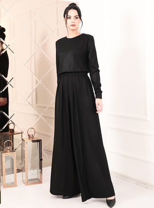 Powder - Black - Fully Lined - Crew neck - Crepe - Evening Jumpsuits