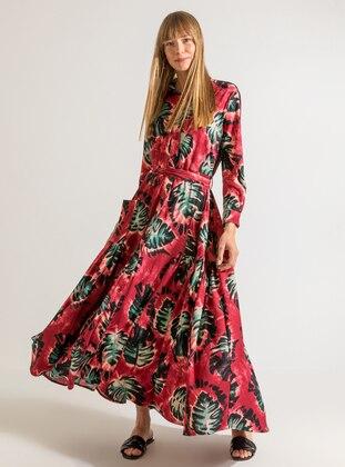 Maroon - Maroon - Multi - Point Collar - Fully Lined - Dress