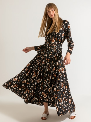 Black - Multi - Black - Multi - Point Collar - Fully Lined - Dress