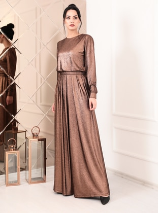 Copper - Copper - Fully Lined - Crew neck - Crepe - Evening Jumpsuits